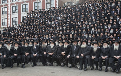 Thousands of rabbis posing for a group photo in front of Chabad-Lubavitch world headquarters in the Brooklyn borough of NY. JTA