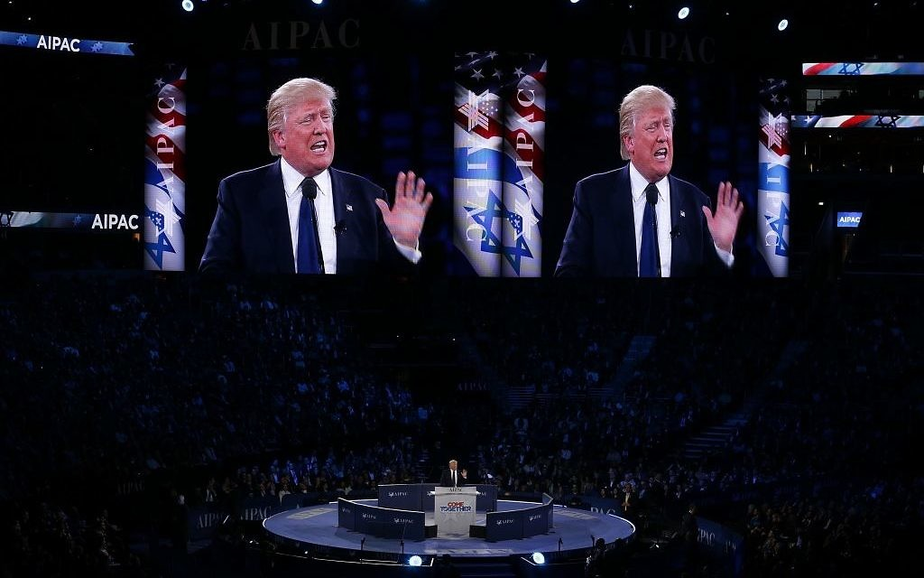 President Trump addresses the AIPAC audience at the 2016 conference in Washington D.C. Getty Images