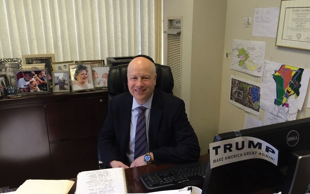 Jason Dov Greenblatt in his office prior to assuming his position in the Trump administration. JTA
