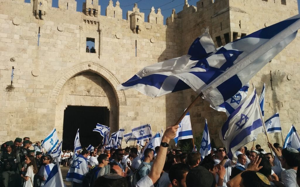 """Jerusalem Day festivities outside the Damascus Gate. """"Jerusalem is ours — all parts of it,"""" said a Knesset member. Joshua Mitnick/JW"""