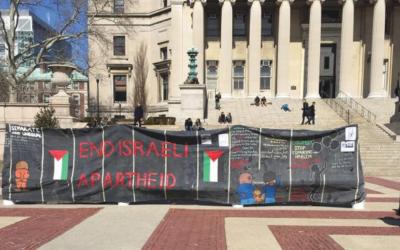 A banner protesting Israeli policies at Columbia University during Israel Apartheid Week in 2016. Hannah Dreyfus/JW