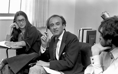 Elie Wiesel leading a seminar at Boston University in the late-'70s. BU.edu