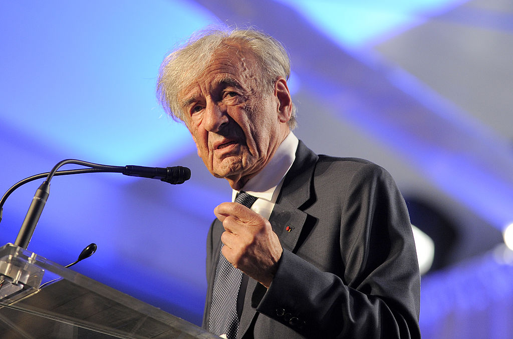 Elie Wiesel speaks during a celebration of the U.S. Holocaust Memorial Museum's 20th anniversary in 2013. Getty
