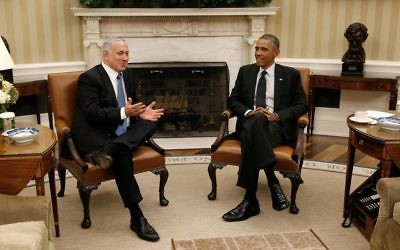 Israeli Prime Minister Benjamin Netanyahu meets with Obama at the White House in 2014.  Getty Images.