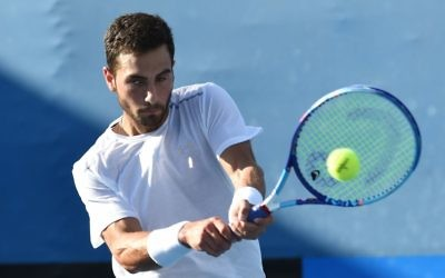 Noah Rubin during a men's singles match at the 2016 Australian Open tennis tournament in Melbourne, January, 2016.Getty Images