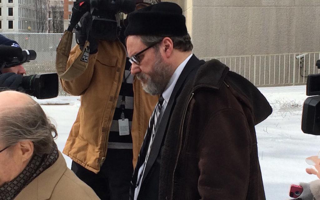 Rabbi Barry Freundel exiting the courthouse after entering his guilty plea, Feb. 2015. (Dmitriy Shapiro/Washington Jewish Week)