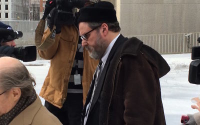 Rabbi Barry Freundel exiting the courthouse after entering his guilty plea, Feb. 2015. (Dmitriy Shapiro/Washington Jewish Week)