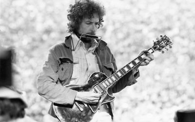 Bob Dylan performing at Kezar Stadium in San Francisco, March 23, 1975. JTA