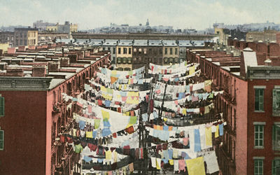Picture postcards of modest scenery, such as laundry flapping on clotheslines. Courtesy of the Blavatnik Archive Foundation