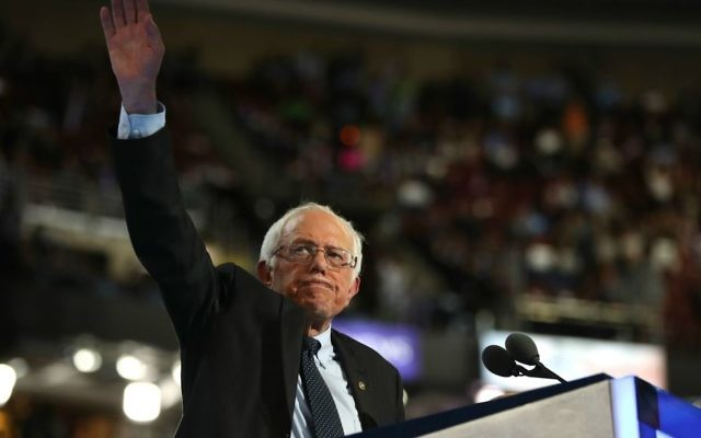 Sen. Bernie Sanders waves to the crowd after delivering remarks on the first day of the DNC in Philadelphia on July 25, 2016. Getty Images