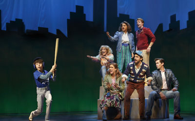 "Clockwise from left: Anthony Rosenthal, Betsy Wolfe, Tracie Thoms, Christian Borle, Andrew Rannells, Brandon Uranowitz and Stephanie J. Block performing in the musical ""Falsettos."" (Joan Marcus)"