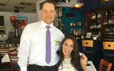 Dave Labowitz and Mia Schaikewitz originally met in a Los Angeles sports bar. Courtesy