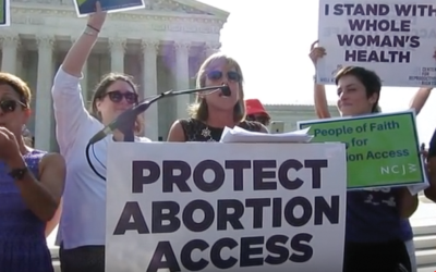 Jody Rabhan of National Council of Jewish Women at a July 2016 rally for abortion access. Youtube.com