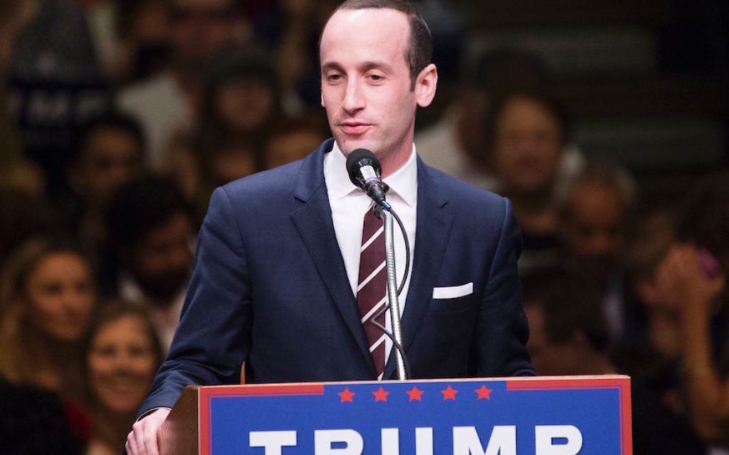 Stephen Miller speaking at a Donald Trump campaign rally in Anaheim, Calif., May 25, 2016. Getty Images