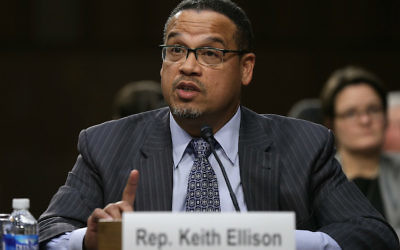 Rep. Keith Ellison testifying before a Senate subcommittee in Washington, D.C., Dec. 9, 2014. JTA