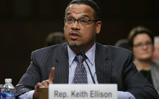 Rep. Keith Ellison testifying before a Senate subcommittee in Washington, D.C., Dec. 9, 2014. JTA