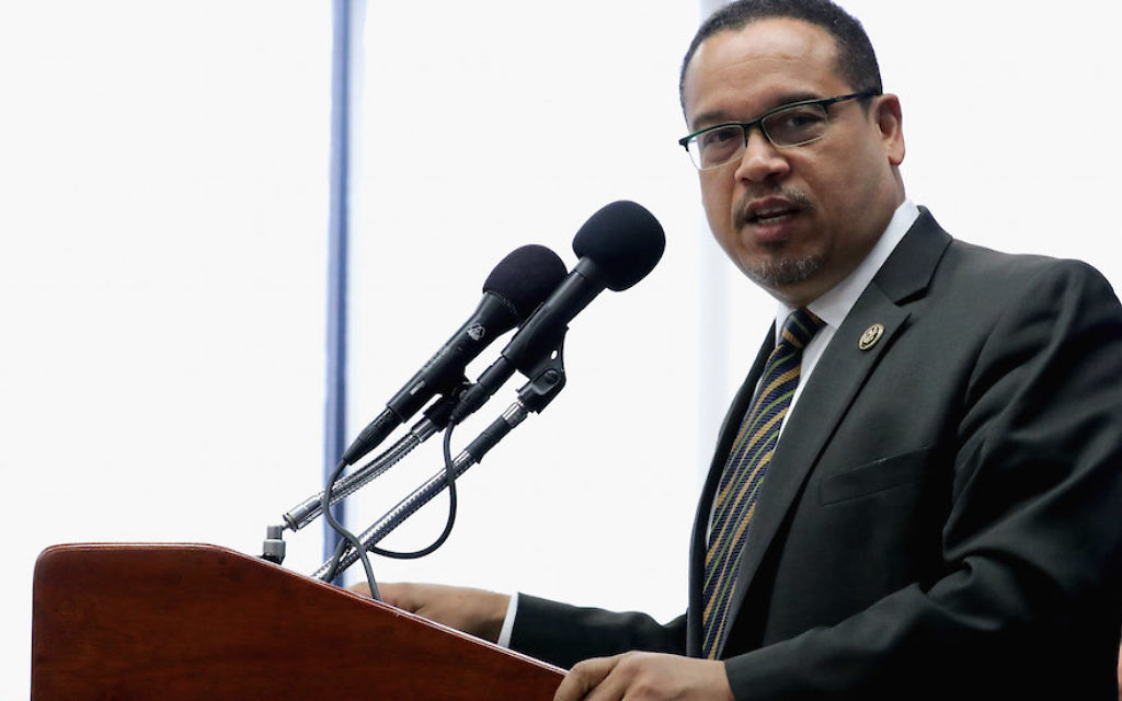 Rep. Keith Ellison at a news conference at the National Press Club in Washington, D.C., May 24, 2016. JTA