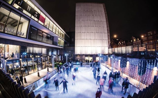 The ice skating rink at JW3, the JCC that draws 4,500 visitors a week, a figure that has exceeded expectations. Blake Ezra