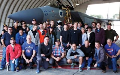 Members of the team representing Israel in the World Baseball Classic and the rest of their delegation visiting the Tel Nof Israeli Air Force base near Rehovot. Daniel Bar-On