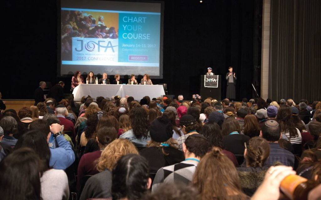 """The scene at Sunday's JOFA conference at Columbia University. Speaking at the gathering, Rabbi Lila Kagedan, citing great strides for women within Orthodoxy, warned: """"We can't take this progress for granted."""" Hanna Dreyfus/JW"""