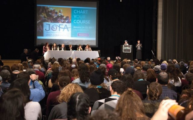 "The scene at Sunday's JOFA conference at Columbia University. Speaking at the gathering, Rabbi Lila Kagedan, citing great strides for women within Orthodoxy, warned: ""We can't take this progress for granted."" Hanna Dreyfus/JW"