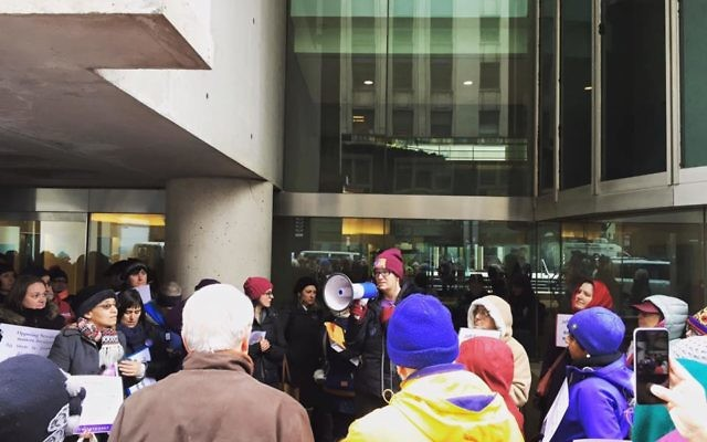 """Speaking Out at """"Tuesdays With Toomey."""" Courtesy of Jaime Bassman"""