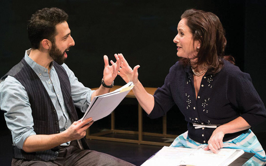 """Jacob Heimer and Anne Runolfsson in a rehearsal shot for """"Milk and Honey.""""  Ben Strothmann"""