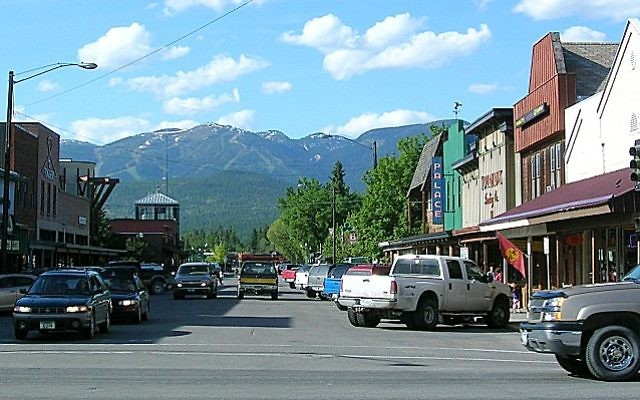 Downtown Whitefish, Montana. There are about 100 known Jewish households in Whitefish and nearby Kalispell, part of the Flathead Valley. Wikimedia Commons