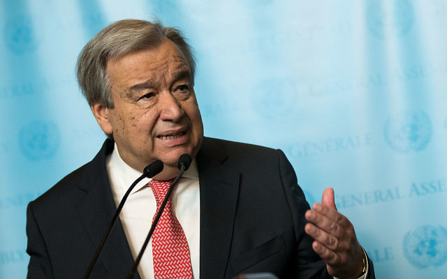 Secretary General of the United Nations Antonio Guterres speaks to reporters at UN Headquarters, in New York City. Getty Images