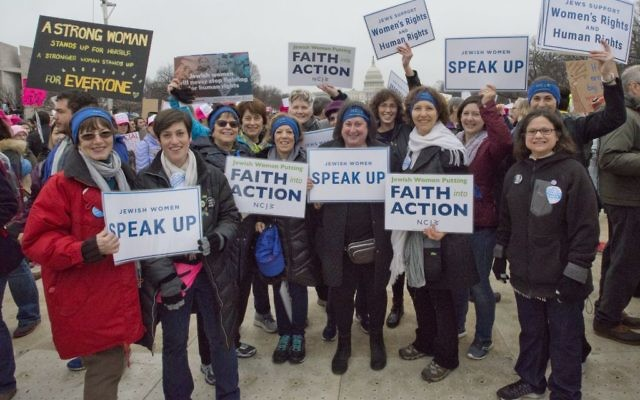 NCJW supporters and staff convene with fellow Jewish organizations on the National Mall for the Women's March on Washington, January 21, 2017. Courtesy Ron Sachs/NCJW