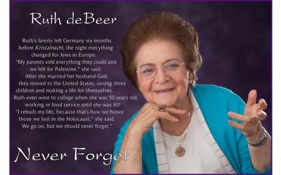 Ruth DeBeer's family sold everything and left Germany six months before Kristalnacht. Her advice: Never forget. Photos courtesy of Gurwin Jewish