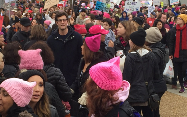 Joshua Kushner at the Women's March in Washington, D.C., Jan. 21, 2017. (Screenshot from Twitter)