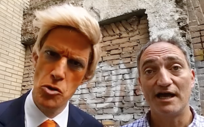 Greg Shapiro, left, is the narrator in a video spoofing Donald Trump that went viral. (Screenshot from YouTube)