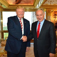 Donald Trump and Benjamin Netanyahu meeting in Trump Tower in New York in 2016. JTA