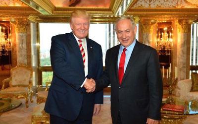 Donald Trump and Benjamin Netanyahu meeting in Trump Tower in New York in 2016. JTA