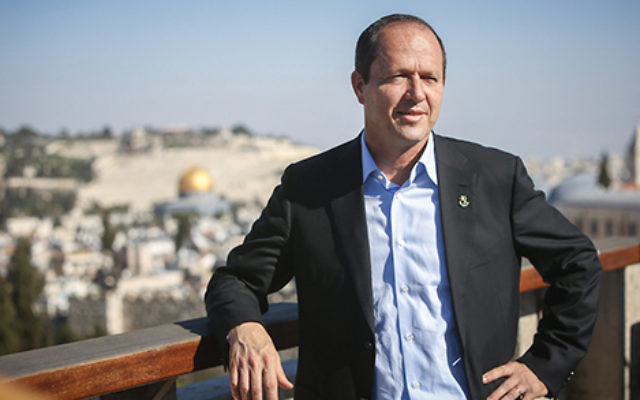 Jerusalem Mayor Nir Barkat delivering the keynote speech Dec. 11 after receiving an honorary degree from Yeshiva University at the Waldorf Astoria hotel here. Courtesy of the City of Jerusalem