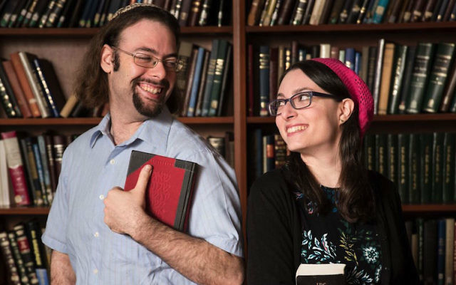 Yair Shahak, left, and wife Yaelle Frohlich competed against each other in the International Adult Bible Contest in Jerusalem on Dec. 28, 2016. Shahak was one of two winners. JTA