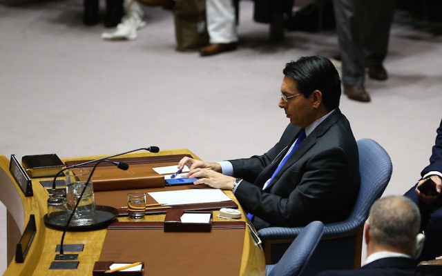 Danny Danon, Israel's ambassador to the United Nations, at the Security Council meeting in New York, Dec. 23, 2016. Getty Images