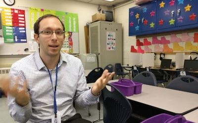 "Sitting in one of HALB's third-grade classrooms, AJE Executive Director Jeff Kiderman explains that at day schools, the ""most limited resource is not money, it's time. We manage time like it's gold."" AMY SARA CLARK/JW"