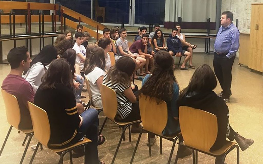 """""""It's OK to admit Israel has made mistakes,"""" U.S. polling guru Frank Luntz told a class of high school students in Israel, preparing them to serve as Israeli advocates on their college campuses. Courtesy of AMHSI"""