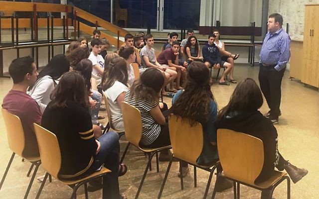 """It's OK to admit Israel has made mistakes,"" U.S. polling guru Frank Luntz told a class of high school students in Israel, preparing them to serve as Israeli advocates on their college campuses. Courtesy of AMHSI"