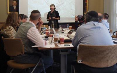 Scholar Eva Mroczak leads a session on prayer in ancient Israel as part of academic-communal partnership at University of Pennsylvania. Courtesy Katz Center for Advanced Judaic Studies