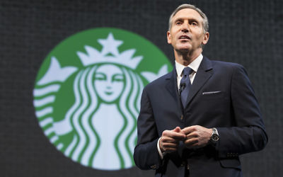 Starbucks Chairman and CEO Howard Schultz speaking at a Starbucks annual shareholders meeting in Seattle, March 18, 2015. (Stephen Brashear/Getty Images)