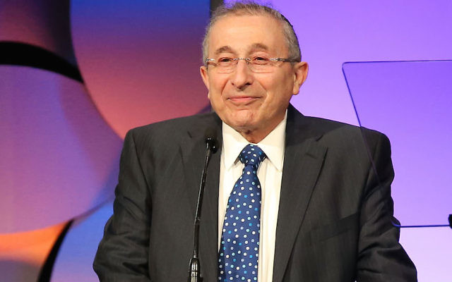 Rabbi Marvin Hier speaking at the Simon Wiesenthal Center's 2015 National Tribute Dinner in Beverly Hills, Calif., March 24, 2015. JTA