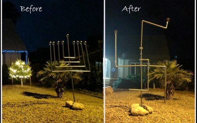 A large menorah in front of the home of an Arizona family was twisted into the shape of a swastika. Screenshot/Twitter/@JulieZauzmer