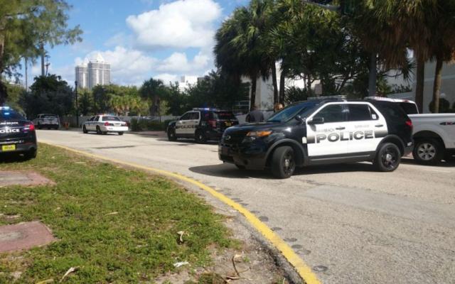 Police outside a Jewish Community Center in Miami Beach following a bomb threat. JTA