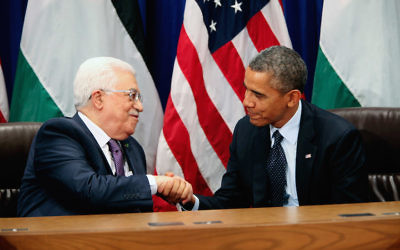 September 24, 2013, New York, NY, USA: President Barack Obama meets with Palestinian Authority President Mahmoud Abbas after addressing the United Nations 68th General Assembly. JTA