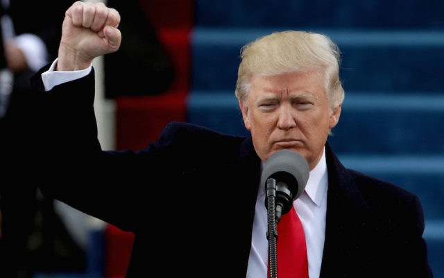 Donald Trump giving his inauguration address at the U.S. Capitol, Jan. 20, 2017. (Alex Wong/Getty Images)