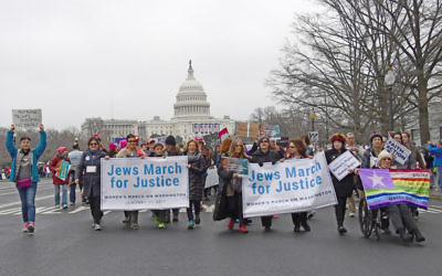 Supporters of National Council of Jewish Women and other Jewish organizations come together on the National Mall for the Women's March on Washington, January 21, 2017. Photo credit: Ron Sachs