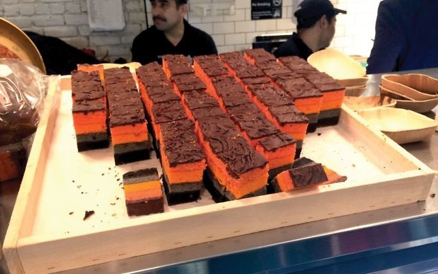 Shelsky's, an artisanal Jewish eatery in Brooklyn, served rainbow cookies at the event. The dessert, frequently served on Passover, is now considered a Jewish dessert. Hannah Dreyfus/JW
